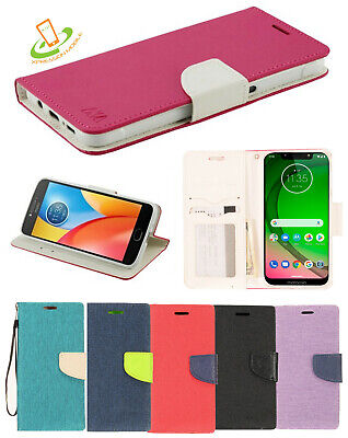 MOTOROLA Moto G7 POWER / G7 PLAY Flip Wallet Credit Card Case Phone Cover Strap (Motorola Moto G 2 Phone Case)