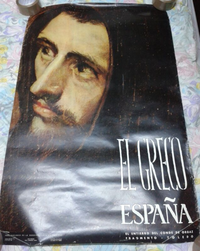 Vintage travel poster Spain Toledo El Greco El entierro del conde de orgaz