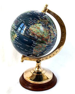 edler Globus auf Holzfuß mit Messing Höhe 23cm Ø 12,5cm Dunkelblau