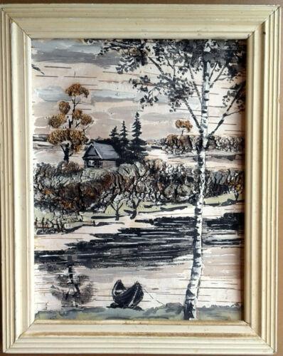 A. Veselov. Morning. Original Signed Painting Tempera on Birch Bark, Russia 1995