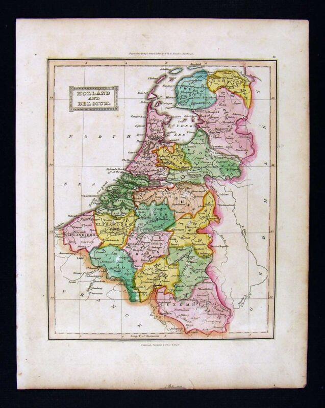 c. 1824 Ewing Antique Atlas Map - Holland Belgium Amsterdam Brussels Luxemburg