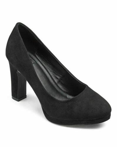 Women+Abigail+Platform+3.5%22+heel+Court+Shoes+SOLE+DIVA+Black+UK+size+8+EX+Wide+