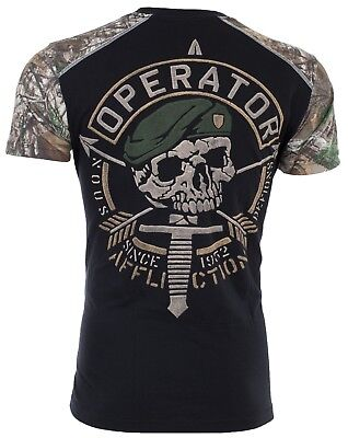 AFFLICTION Men T-Shirt OPERATOR SPEED Military Skull REALTREE CAMO Biker UFC $54