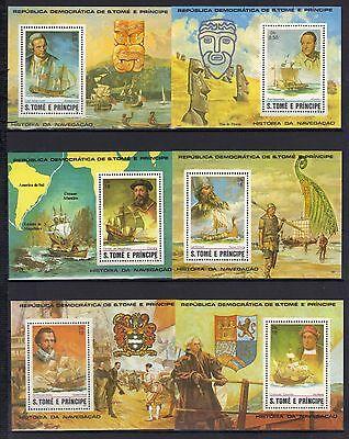 Sao Tome & Principe 1982 Historic Ships Columbus Magellan MNH 6 S/S SC# 671-673
