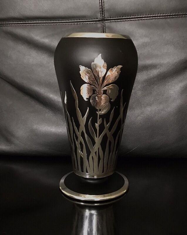 Black Satin Glass Silver Overlay Vase
