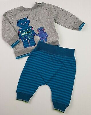 TED BAKER Baby Boys Clothes Robot Sweatshirt & Leggings Outfit 3-6 Months VGC