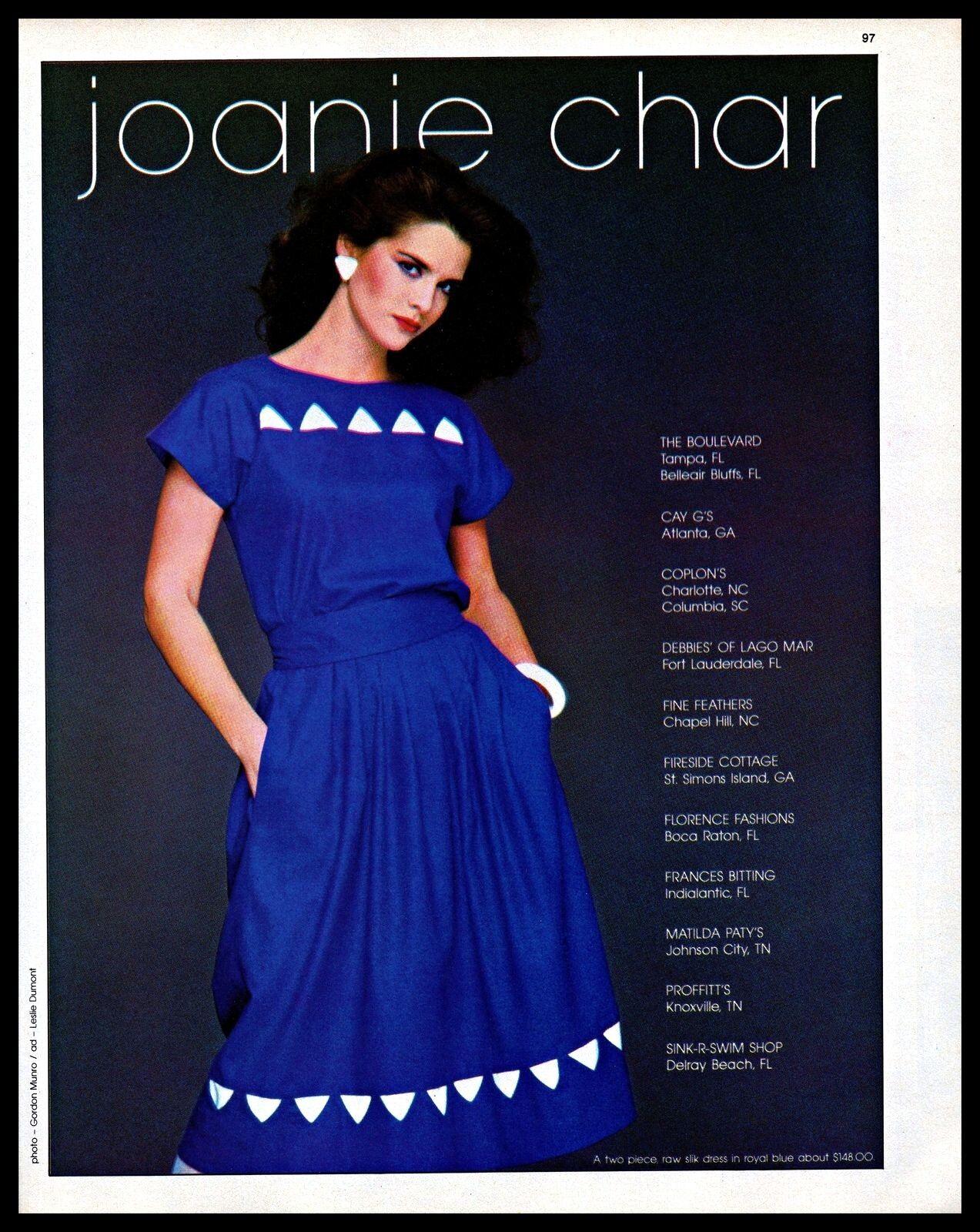 1983 Joanie Char Designer Clothing Blue Dress Fashion Vintage 1980s Print Ad