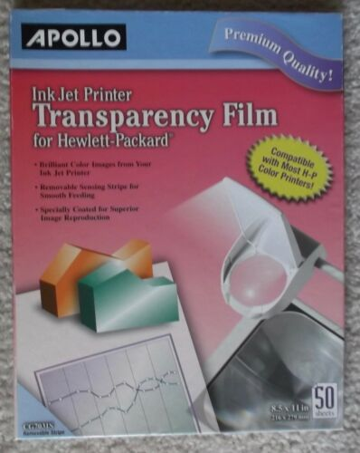 APOLLO INK JET PRINTER TRANSPARENCY FILM FOR HEWLETT-PACKARD - 35 SHEETS - NEW