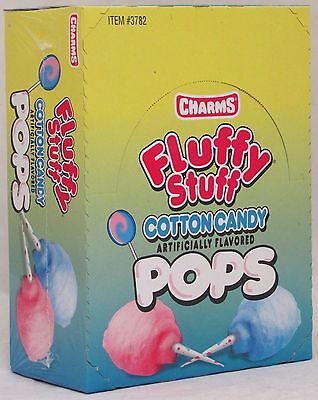 Charms Fluffy Stuff Cotton Candy Pop Candy 48 Box Flat Pops Bulk Candies - Charms Suckers