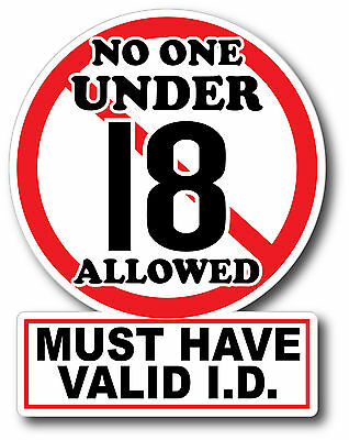 V2 No One Under 18 Sticker Decal High Quality Glossy Decal Restaurant Bar