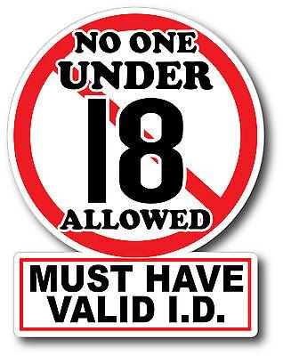 V2 No One Under 18 Sticker Decal High Quality Glossy Decal Restaurant Bar
