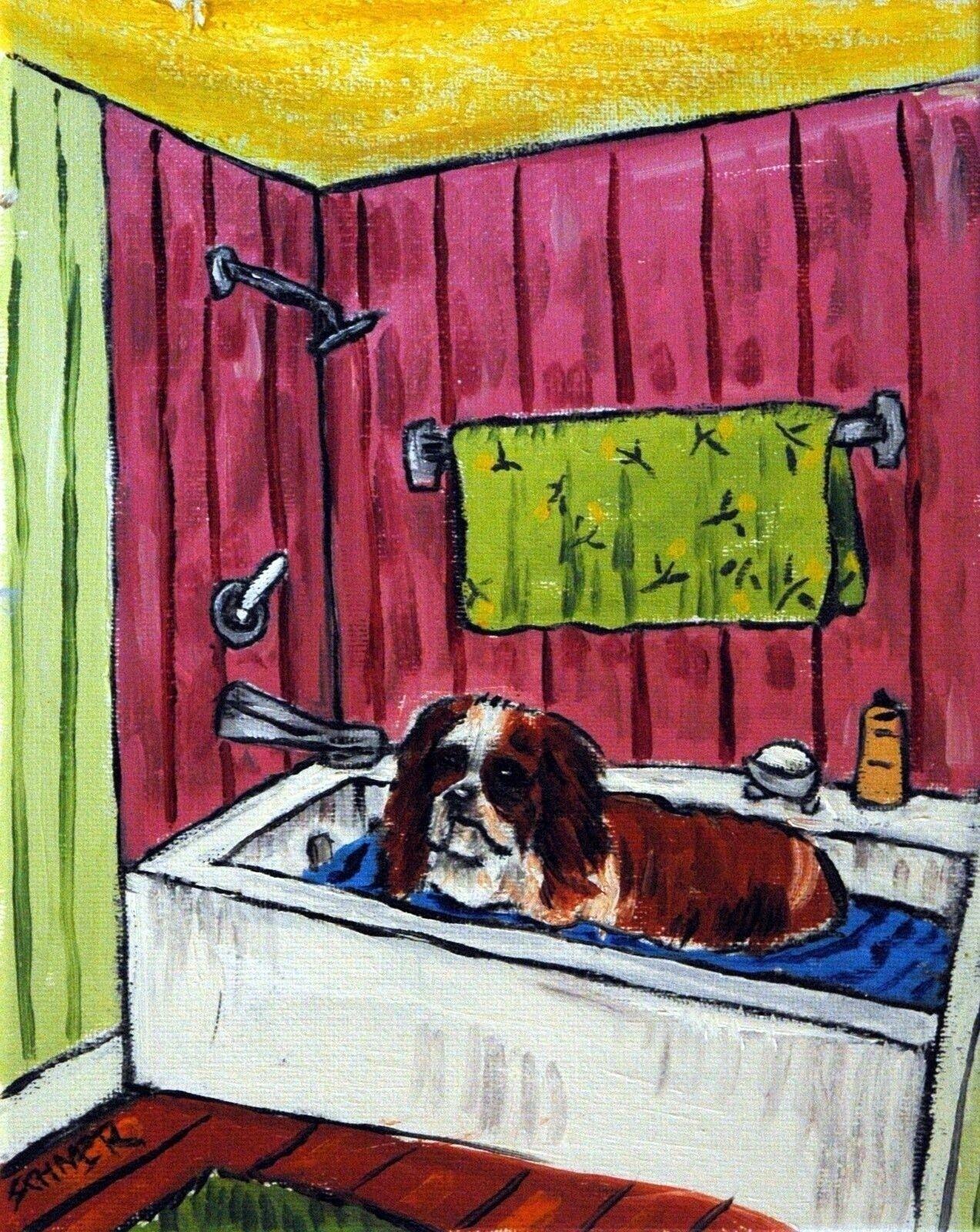 CAVALIER KING CHARLES SPANIEL  8x10  print animals impressionism art