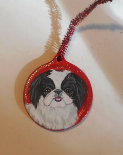 Japanese Chin Dog Christmas Ornament Decoration Hand Painted Ceramic