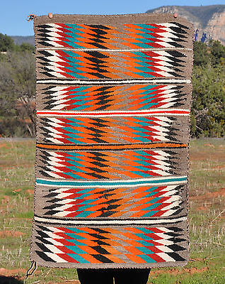 VINTAGE NAVAJO INDIAN RUG - COLORFUL SERRATED STRIPED EYEDAZZLER