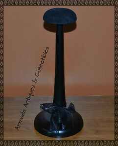 Stylish-Wood-Hat-Helmet-Cap-Headgear-Stand-Display-with-Velour-Top-11-High