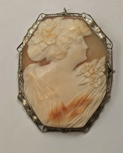 Very Large Vintage 14k Gold Hand Carved Habille Diamond Shell Cameo 18.5 gr