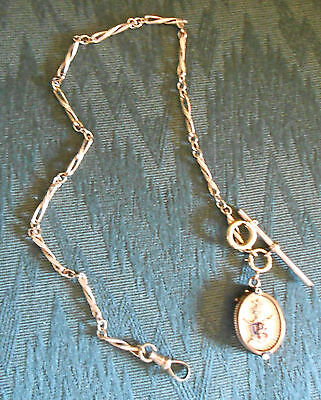 Vintage Knights of Pythias Photo Locket Fob & Chain Gold Filled Hand Engraved