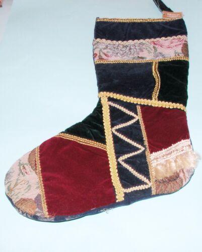 Roman vintage style Christmas stocking, quilt look, velveteen, brocade fringe