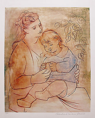 """Pablo Picasso MOTHER & CHILD Estate Signed Limited Edition Giclee Art 26"""" x 20"""""""