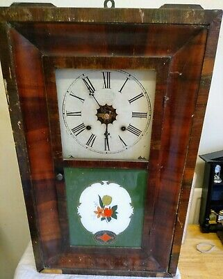 ANTIQUE AMERICAN WALL CLOCK WATERBURY REVERSE PAINTING 8 days 30 hours