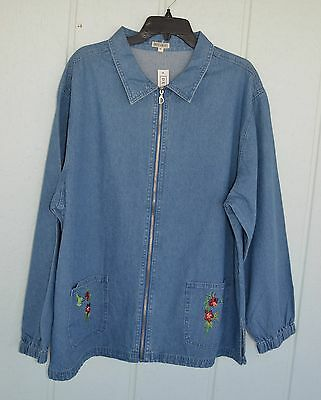 "NWT DENIM BAKERY XL Zip Jacket Embroidered Hummingbirds Flowers 52"" B"