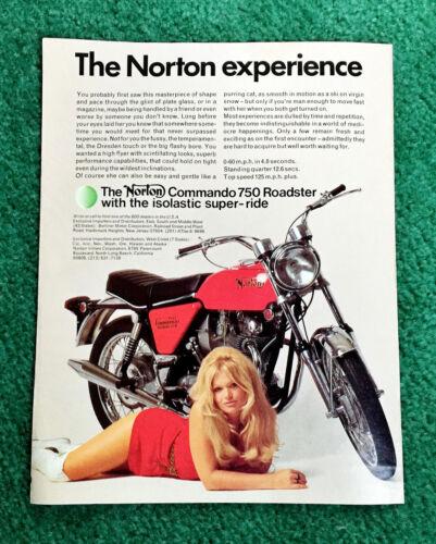 ORIG 1971 NORTON PIN-UP MOTORCYCLE MAGAZINE AD COMMANDO 750 ROADSTER POSTER?