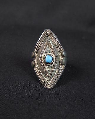 Antique Tibetan Buddhist silver finger ring with turquoise