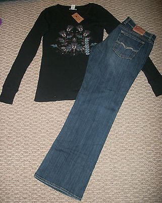 Cotton Thermal Jeans - NWT LUCKY BRAND DENIM JEANS & THERMAL TOP OUTFIT SET WOMEN'S SZ LARGE 12 31