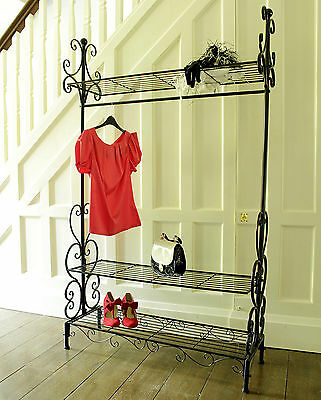 Black metal clothing rail vintage chic clothes wardrobe bedroom shabby rack