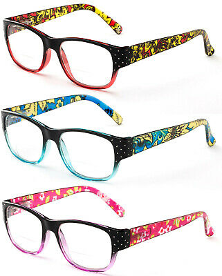 Bifocal Reading Glasses Fashion Flowers Readers Retro Vintage Spring Hinged (Retro Readers)