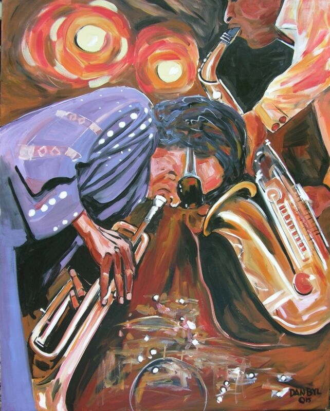 Miles Davis Jazz Original Fine Art Painting Artist Dan Byl Celebrity Large 4x5ft