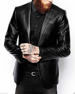 Black Genuine Leather Blazer (Men's Genuine Lambskin Real Leather Blazer Jacket Two Button Slim Fit Coat )