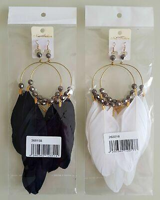 Damen Ohrringe mit Feder Anhängern Weiß, Schwarz, Gold XXL Nr: 36 8158