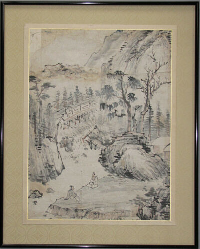 A Fine Korean Landscape Painting with Two Scholars  (山水人物圖)-19th C.