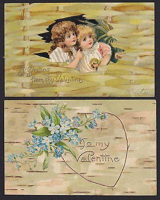 2-Valentine-Bennett?-Andrews?-Children-Birch-Star Back-Antique Postcard Lot