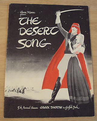 """1950 SOUVENIR Program~""""The DESERT SONG""""~Griffith Park GREEK THEATRE~L.A. CA~"""