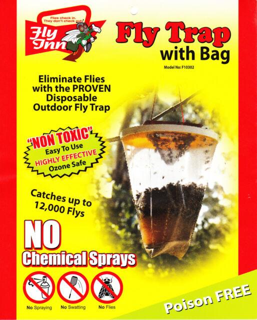 Outdoor Fly Trap X 3 FlyInn® 0.8 Gal Monster RedTop® Fly Catchers secret formula