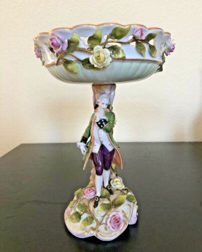 "Carl Thieme Dresden German Hand Painted Reticulated 9"" Figural Portrait Compote"