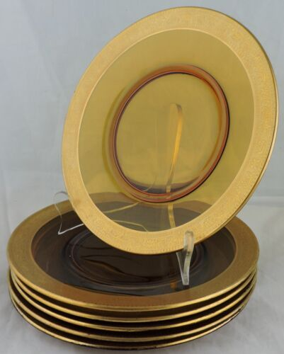 ANTIQUE TIFFIN PLATE SET 6 AMBER GLASS RAISED GOLD RIM RARE