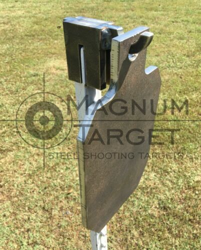 "12"" Tall IDPA/ISPC Steel Shooting Target 3/8"" AR500 Range Target w/ T-Post Hook"