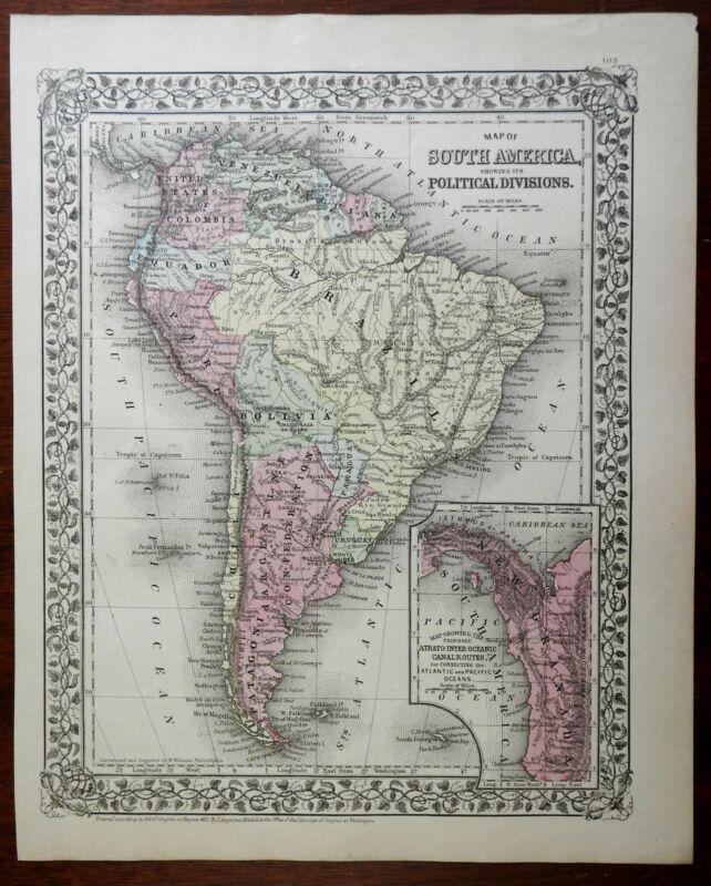 South America Colombia Argentina Brazil Peru Uruguay Venezuela 1888 Mitchell map