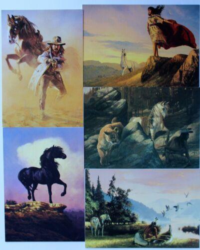 5 Leanin Tree Western Artist Herman Adams Cowboys Indians Horses Birthday Cards