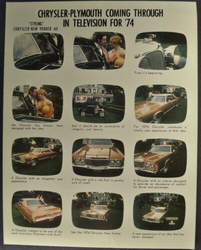 1974 Chrysler New Yorker TV Commercial Ad Promo Sheet Excellent Original 74