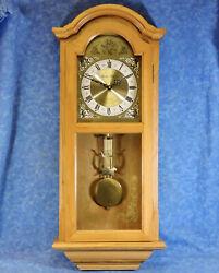 DANIEL DAKOTA Quartz Oak Regulator Wall Clock- USA Mvt- Westminster Chimes- EC
