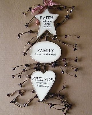 Friends Wall Decor (Country FAITH FAMILY FRIENDS inspirational berry swag berries wall decor Sign )