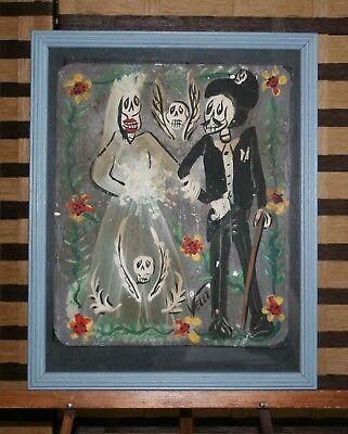 Day of the Dead Bride & Groom Wedding Dress Skulls Dapper Top Hat Velez Folk