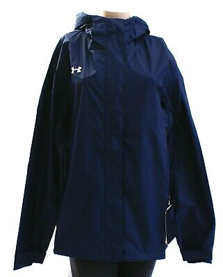 Womens Storm Front Jacket (Under Armour Storm Blue Zip Front Hooded Ace Rain Jacket Women's NWT)