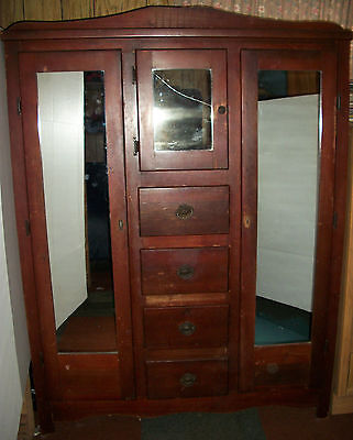 دولاب مستعمل Antique Architectural Salvage VTG Chifferobe Wardrobe Armoire w/ Cabinet Mirrors