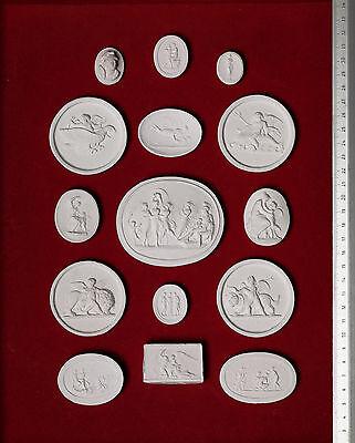 #3. 15 BIG Grand Tour Cameos plaster intaglio Gems Medallions seals Impronte