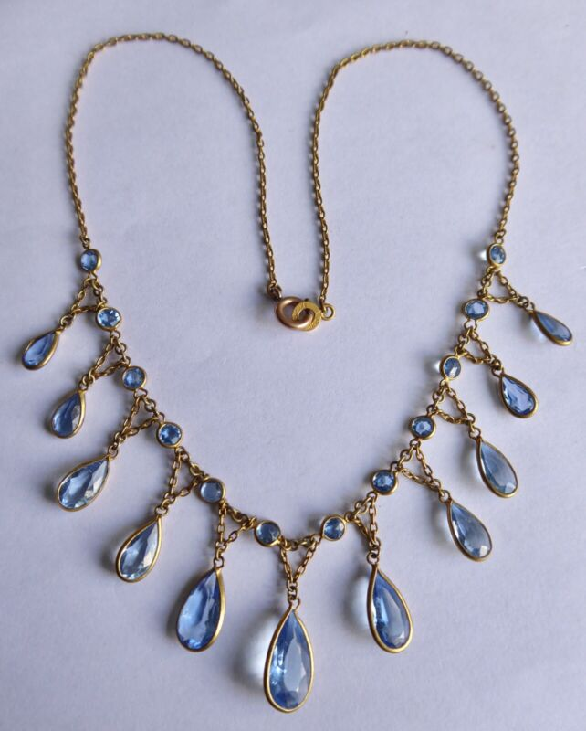 Antique Edwardian French Aquamarine Paste Festoon Necklace Dore Au Mercure